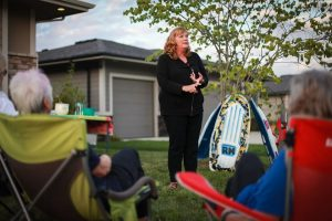Rhonda speaking at Grimes Kickoff