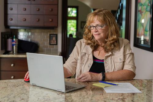 Rhonda at the computer